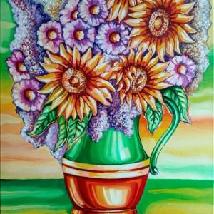 Vaza cu Flori – Realizata pe panza, in culori