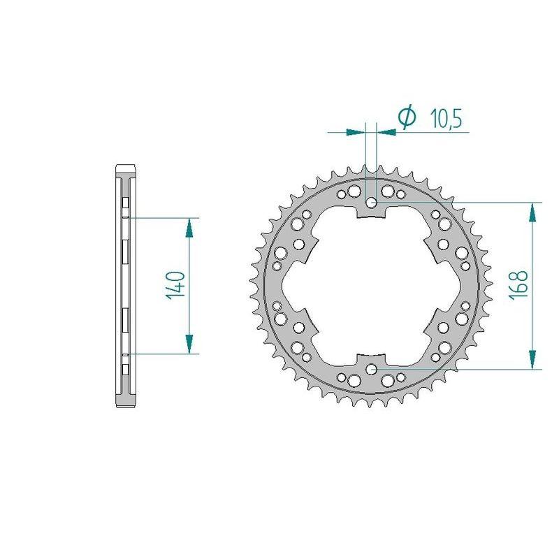 Kit chaine AFAM acier BMW F 650 GS K72 bolts/vis 10.5 mm