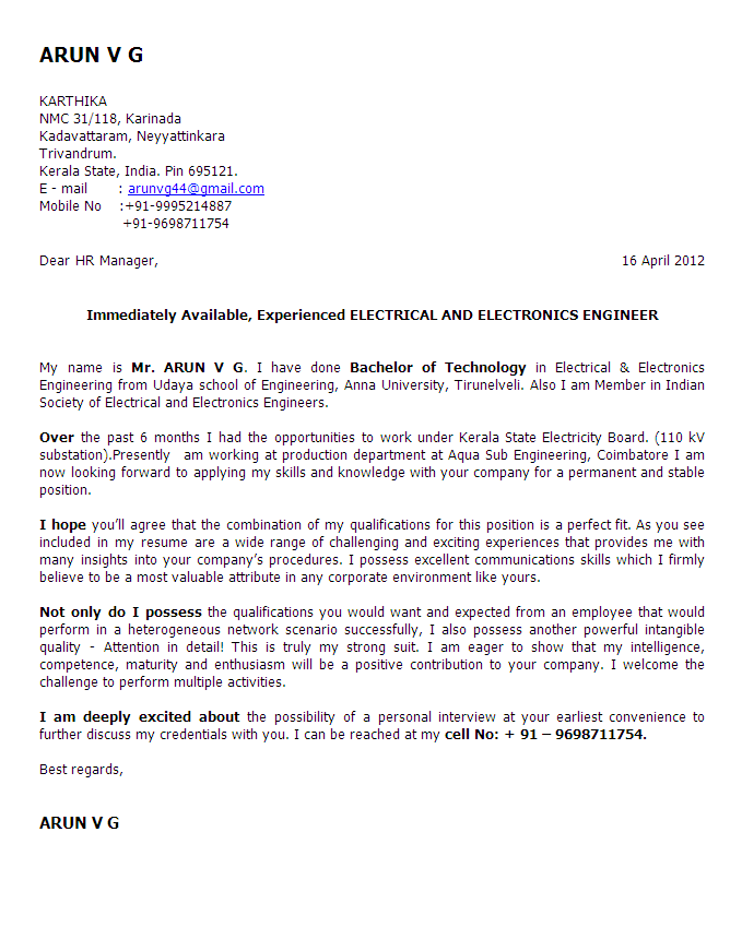 Cover Letter For Fresher Biomedical Engineer | Sample Good ...