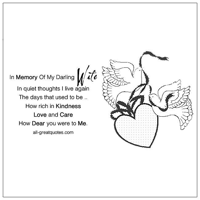 In Memory Of My Darling Wife Memorial Cards For Facebook