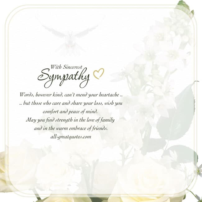 Sincerest Sympathy Words However Kind Can't Mend Your