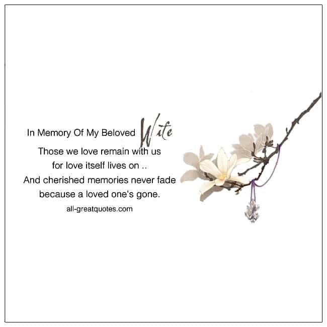 In Loving Memory Of My Beloved Wife Memorial Cards