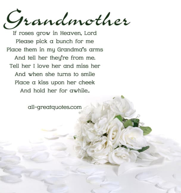 Memorial Cards For Grandmother If Roses Grow In Heaven Lord