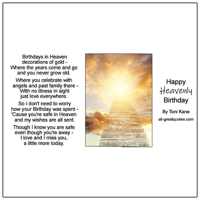 Birthday In Heaven Cards For Your Birthday In Heaven