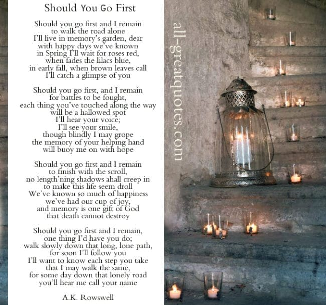 Should You Go First Poem By Albert Kennedy Rowswell