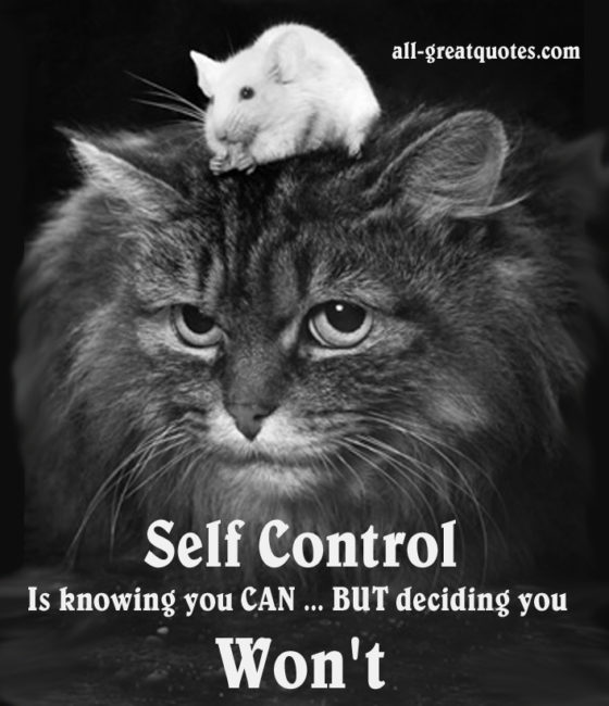Self Control Is Knowing You CAN BUT Deciding You Won't