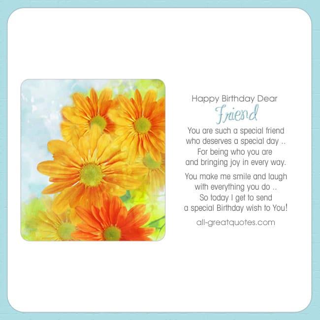 Happy Birthday Dear Friend Free Birthday Cards For Facebook