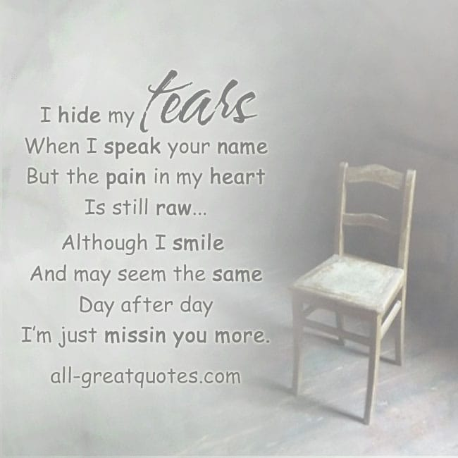 I Hide My Tears When I Speak Your Name Grief Loss Card