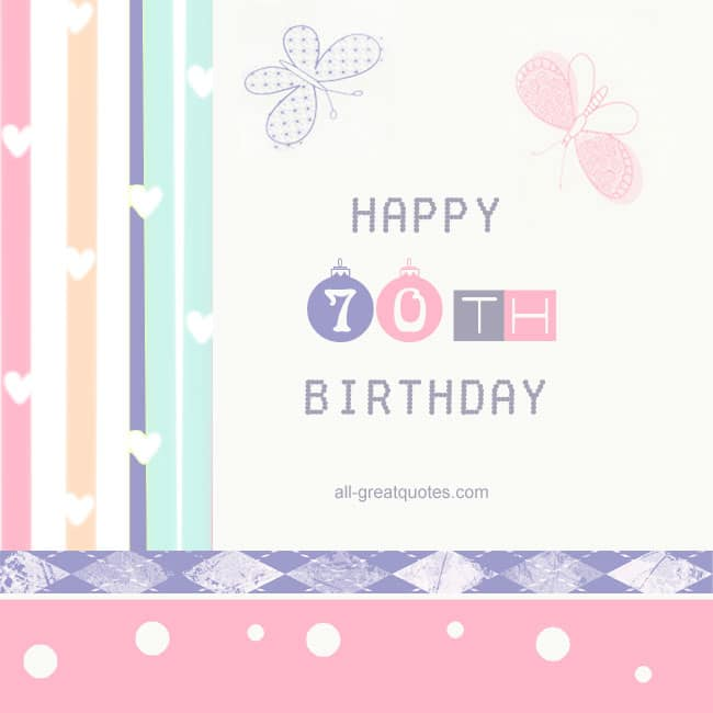 Happy 70th Birthday Facebook Greeting Cards