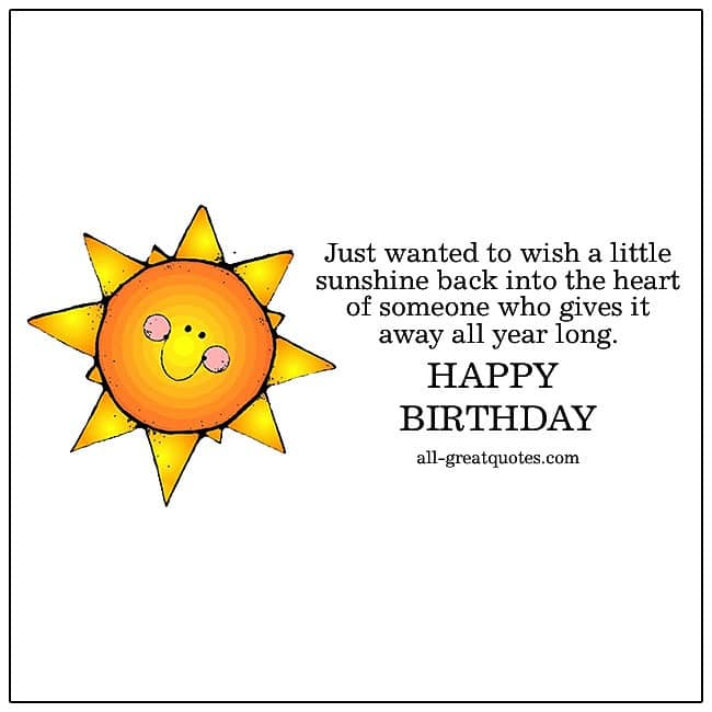 Just Wanted To Wish A Little Sunshine Free Birthday Cards For Facebook