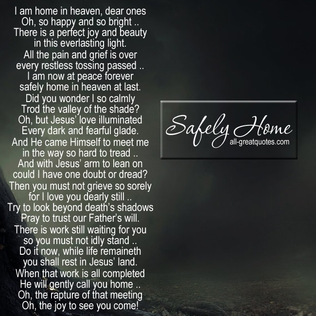 Safely Home Grief Poems Card Facebook Greeting Cards