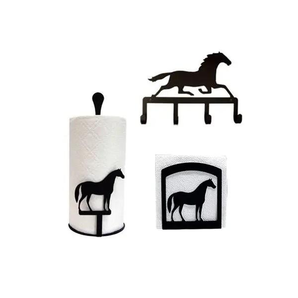 Western Kitchen Decor Sets: Western Kitchen Decor Set [horse Paper Towel Holder, Key Rack]