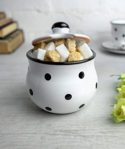 White Black Polka Dot Sugar Bowl