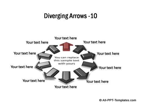 Diverging PowerPoint Arrow Templates