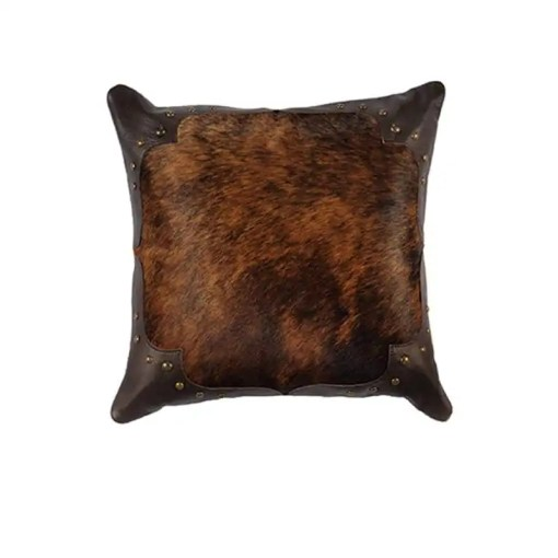 Brindle Leather Throw Pillow