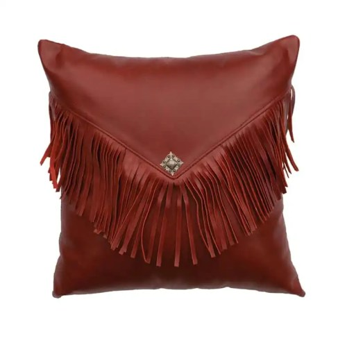 Western Style Red Leather Pillow