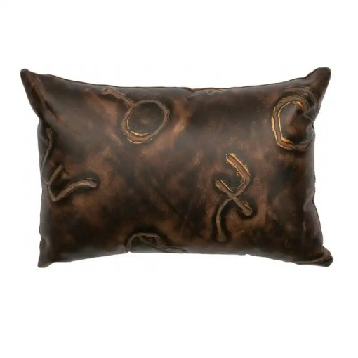 Western Branded Leather Pillow