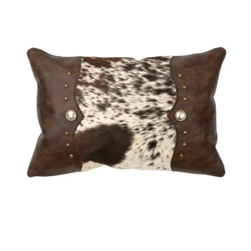 Speckled Leather Throw Pillow