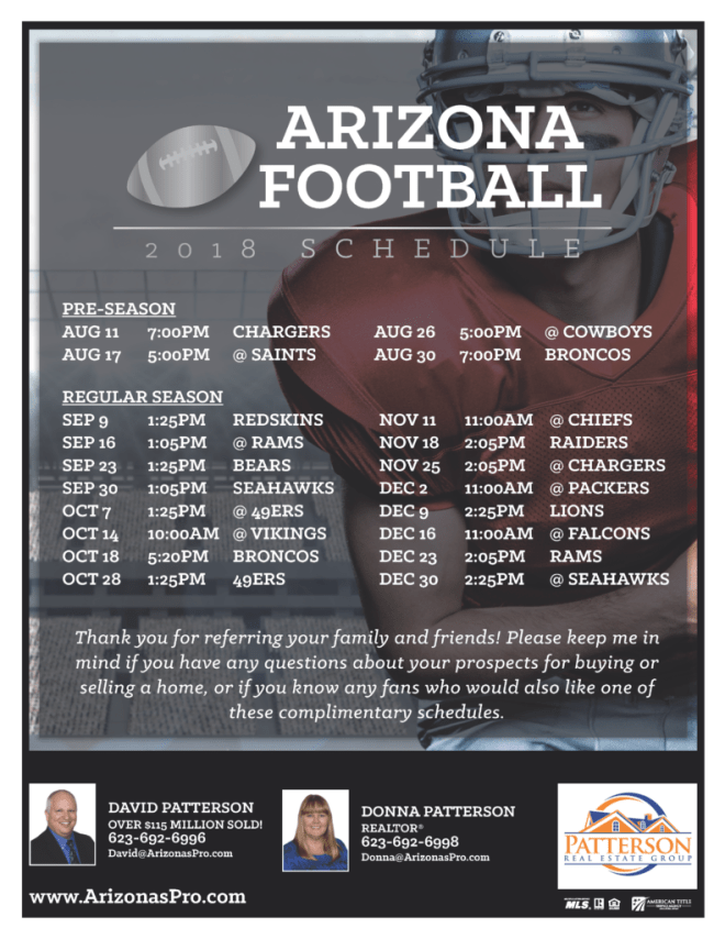 Arizona Football 2018 Football Schedule
