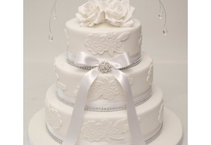 White Bow Roses 3 Tier Wedding Cake