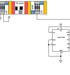 figure 16 the circuit schematic diagram for the 4 bit binary counter with 5x7 led matrix display  [ 1773 x 996 Pixel ]