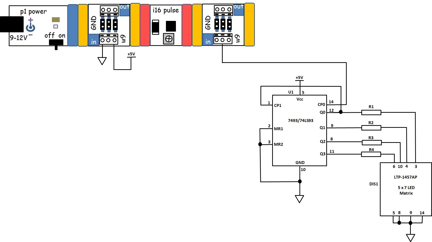 hight resolution of figure 16 the circuit schematic diagram for the 4 bit binary counter with 5x7 led matrix display