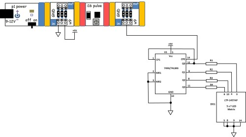 small resolution of figure 16 the circuit schematic diagram for the 4 bit binary counter with 5x7 led matrix display