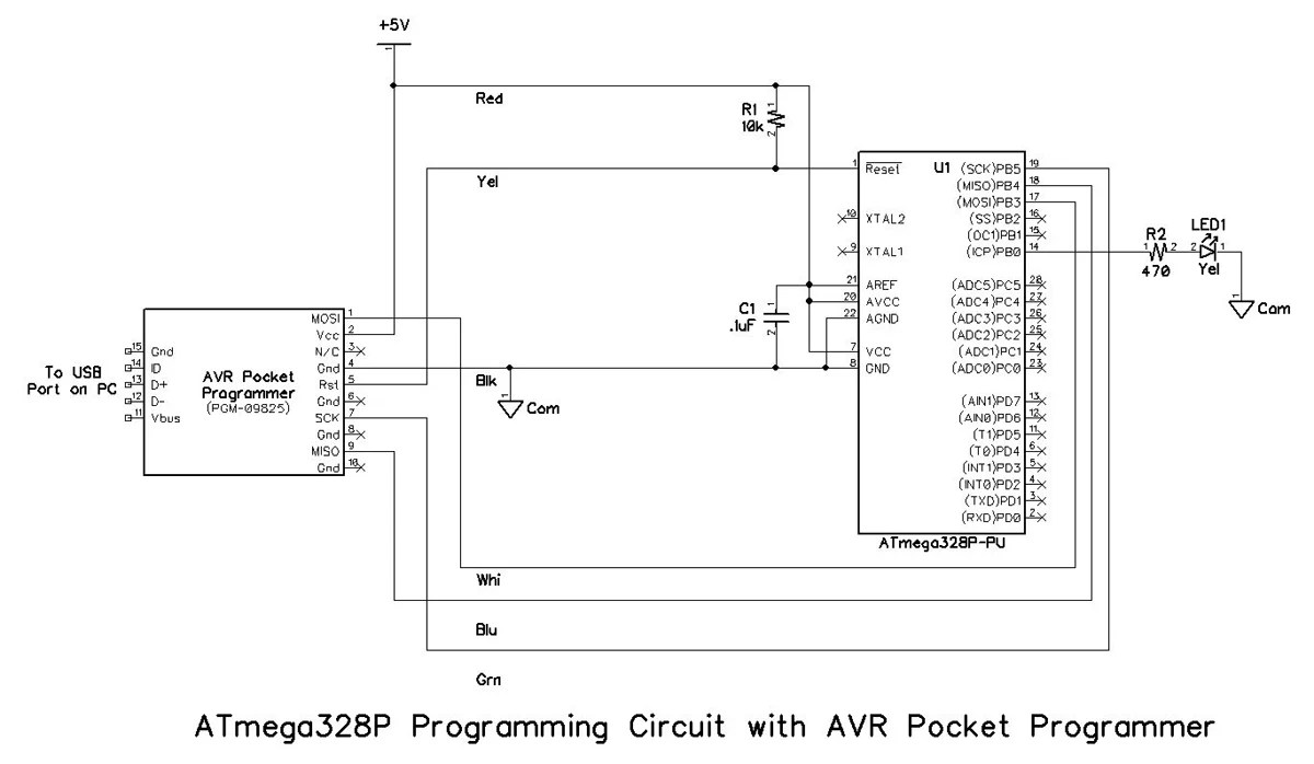 hight resolution of the schematic diagrams for the programming circuits are shown below note that resistor r2 and led1 are not strictly required for programming but are