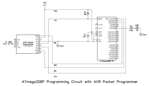 small resolution of the schematic diagrams for the programming circuits are shown below note that resistor r2 and led1 are not strictly required for programming but are