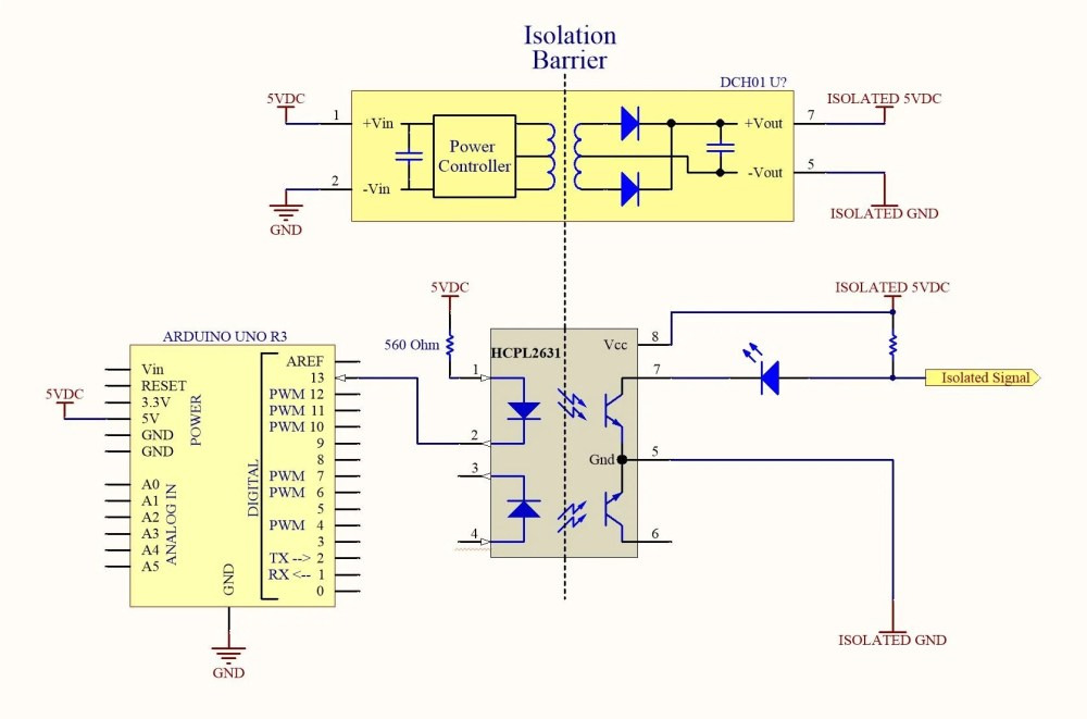 medium resolution of when the arduino uno sets pin 13 high no current flows through the input of the opto isolator and the isolated signal remains pulled high