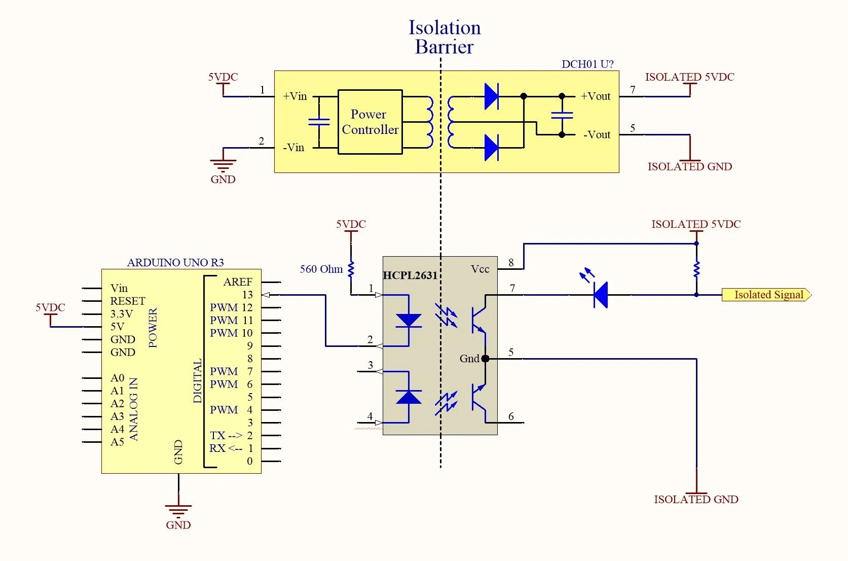 hight resolution of when the arduino uno sets pin 13 high no current flows through the input of the opto isolator and the isolated signal remains pulled high