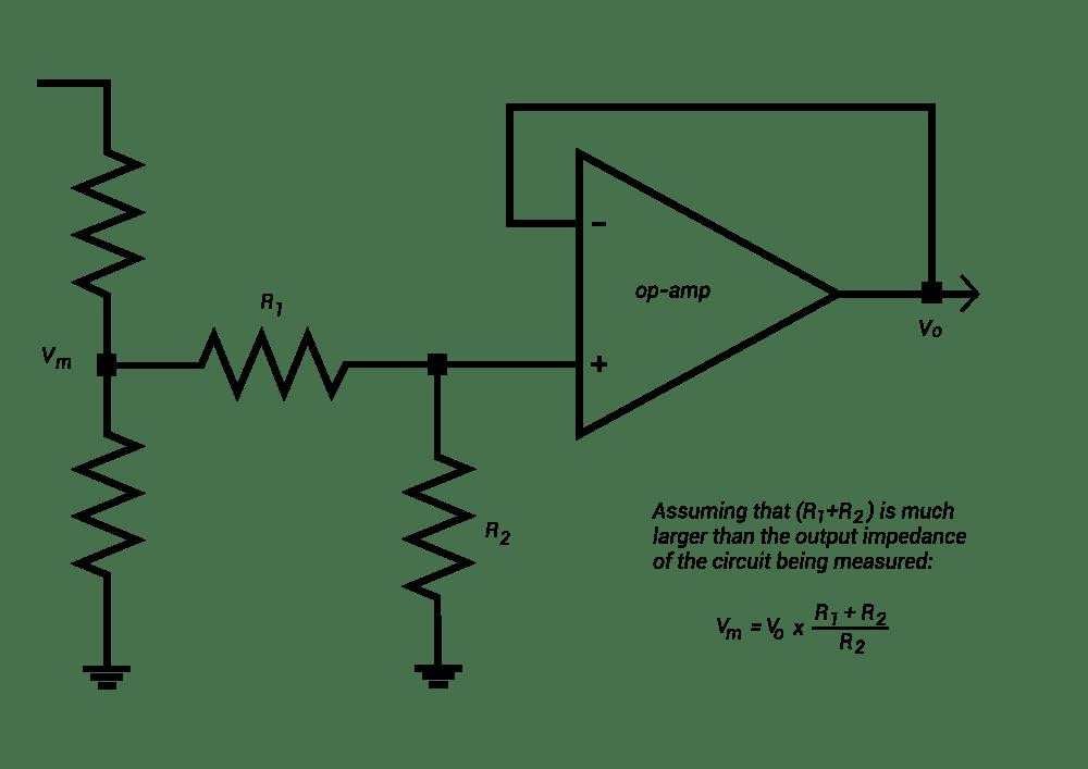 medium resolution of voltage divider in a voltage follower