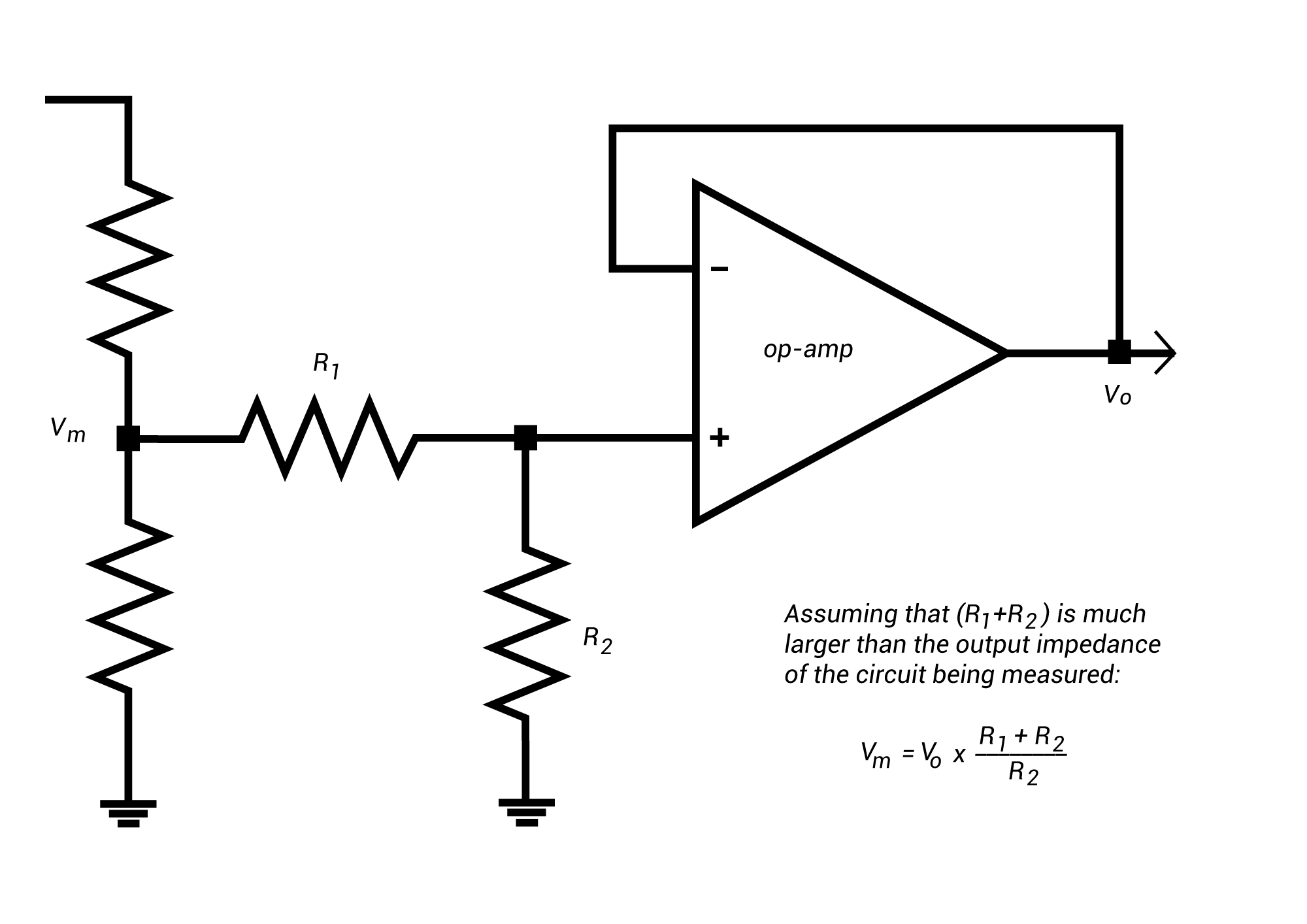 hight resolution of voltage divider in a voltage follower