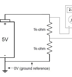 for instance if you were to measure the voltage across the upper resistor in a resistive voltage divider your reference point would not be ground  [ 1374 x 1120 Pixel ]