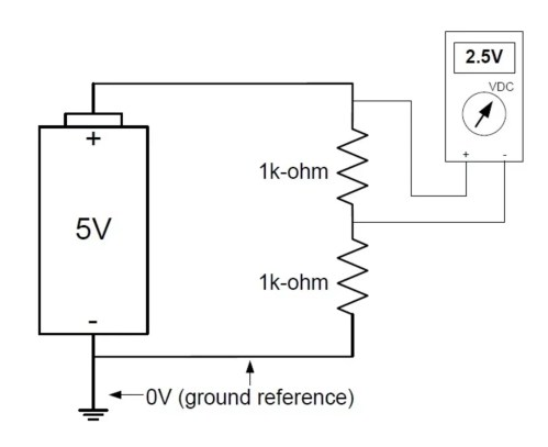 small resolution of for instance if you were to measure the voltage across the upper resistor in a resistive voltage divider your reference point would not be ground