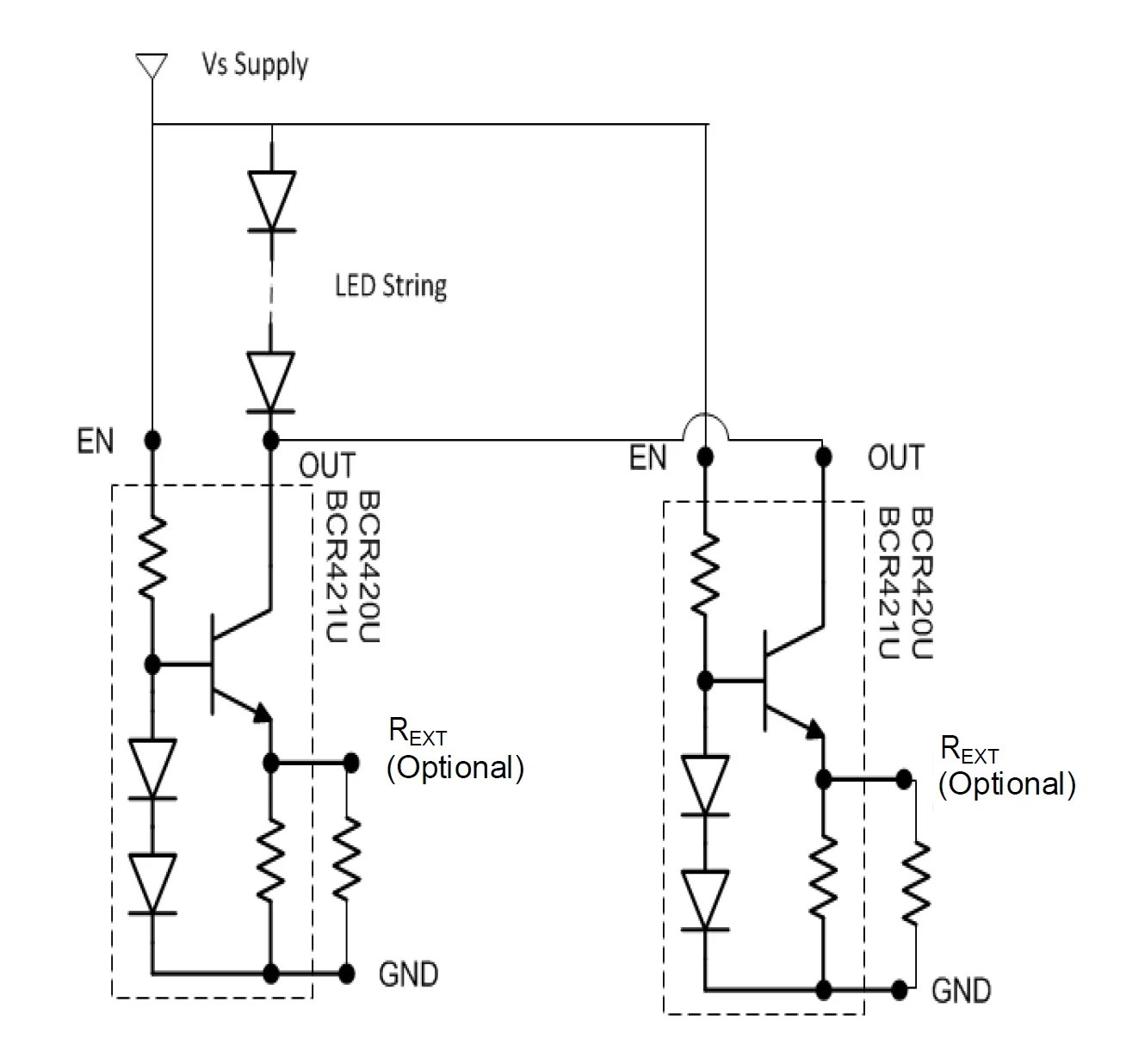 hight resolution of a parallel configuration allows for higher led currents circuit taken from the datasheet pdf