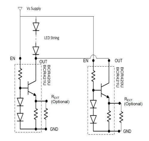 small resolution of a parallel configuration allows for higher led currents circuit taken from the datasheet pdf