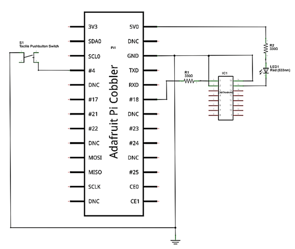 medium resolution of the solderless breadboard wiring diagram to buid the rpi led flasher notice the placement of the electronic components on the solderless breadboard