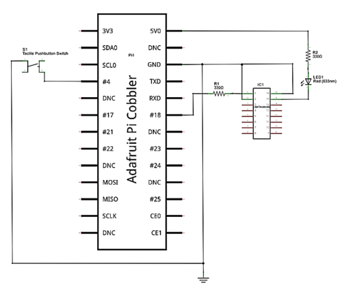 small resolution of the solderless breadboard wiring diagram to buid the rpi led flasher notice the placement of the electronic components on the solderless breadboard