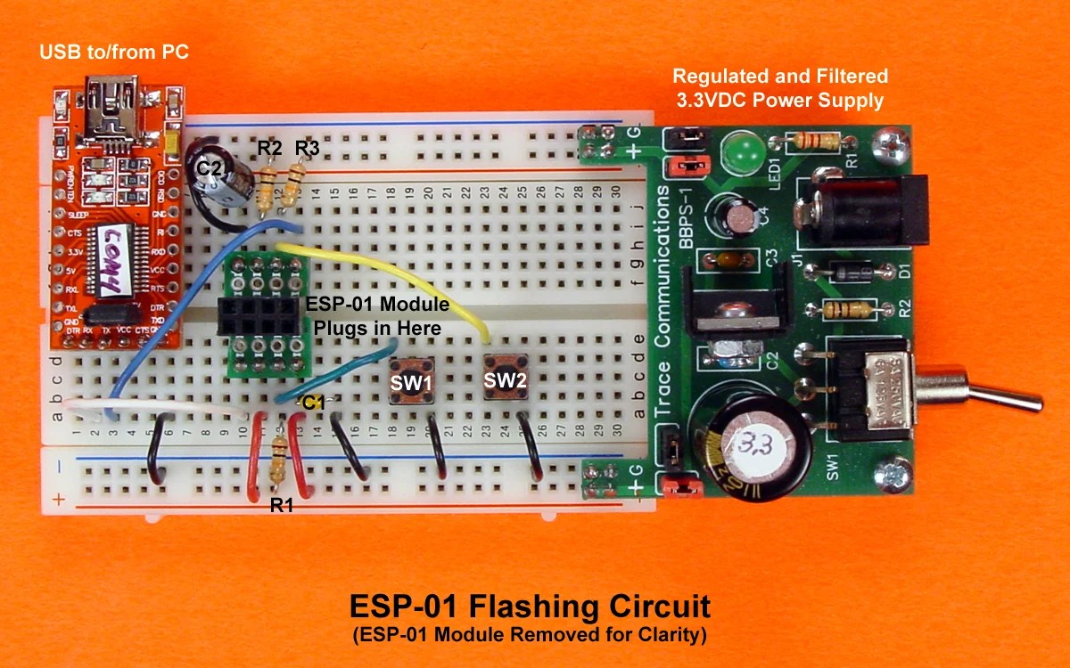 hight resolution of in the photo immediately above the esp 01 module has been removed from the assembly revealing the author s home built breadboard adapter for the esp 01