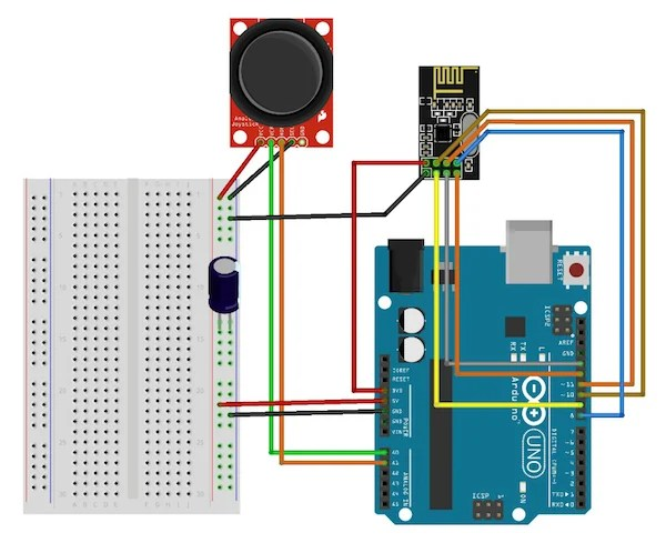 ps2 controller to usb wiring diagram thetford c3 create a two channel remote control with the nrf24l01 i had issues on my receiving board that was able resolve by introducing 10 µf capacitor between 5v supply line and ground so put one in both