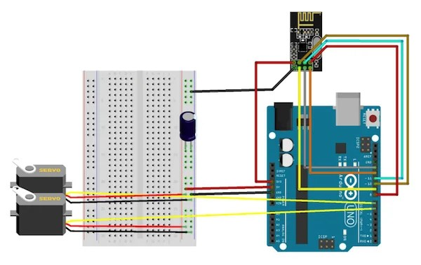 ps2 controller to usb wiring diagram 2008 nissan xterra stereo create a two channel remote control with the nrf24l01 circuit 2 servo receiver