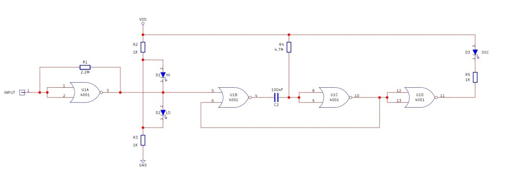 medium resolution of the logic probe circuit consists of a single 4001 quad nor gate the first circuit u1a is an oscillator and the second circuit u1b and u1c is a