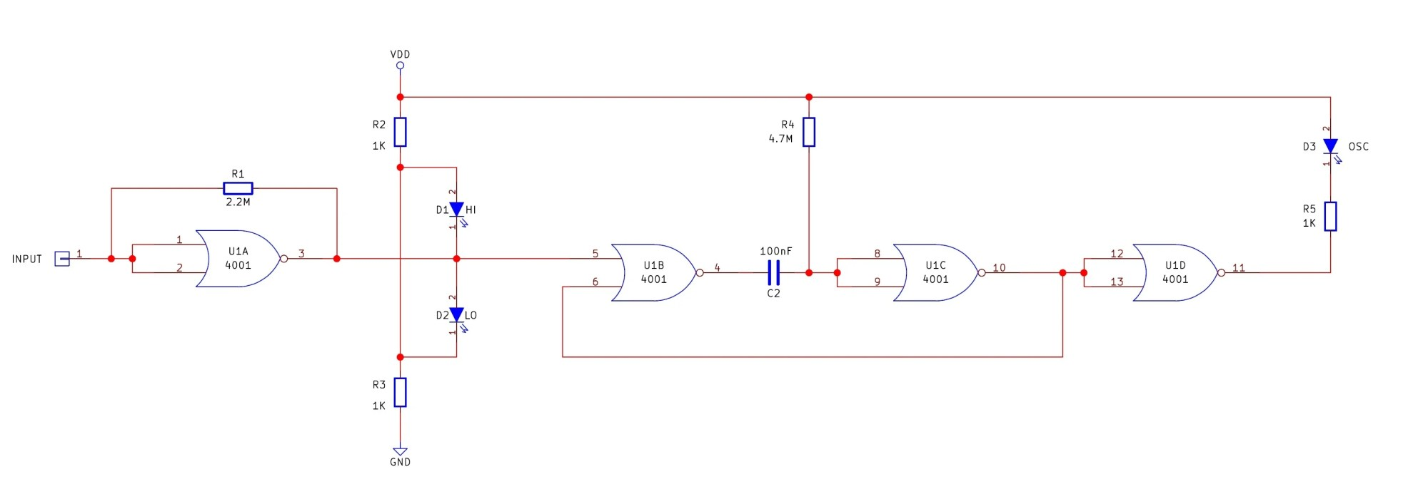 hight resolution of the logic probe circuit consists of a single 4001 quad nor gate the first circuit u1a is an oscillator and the second circuit u1b and u1c is a