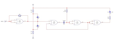 small resolution of the logic probe circuit consists of a single 4001 quad nor gate the first circuit u1a is an oscillator and the second circuit u1b and u1c is a
