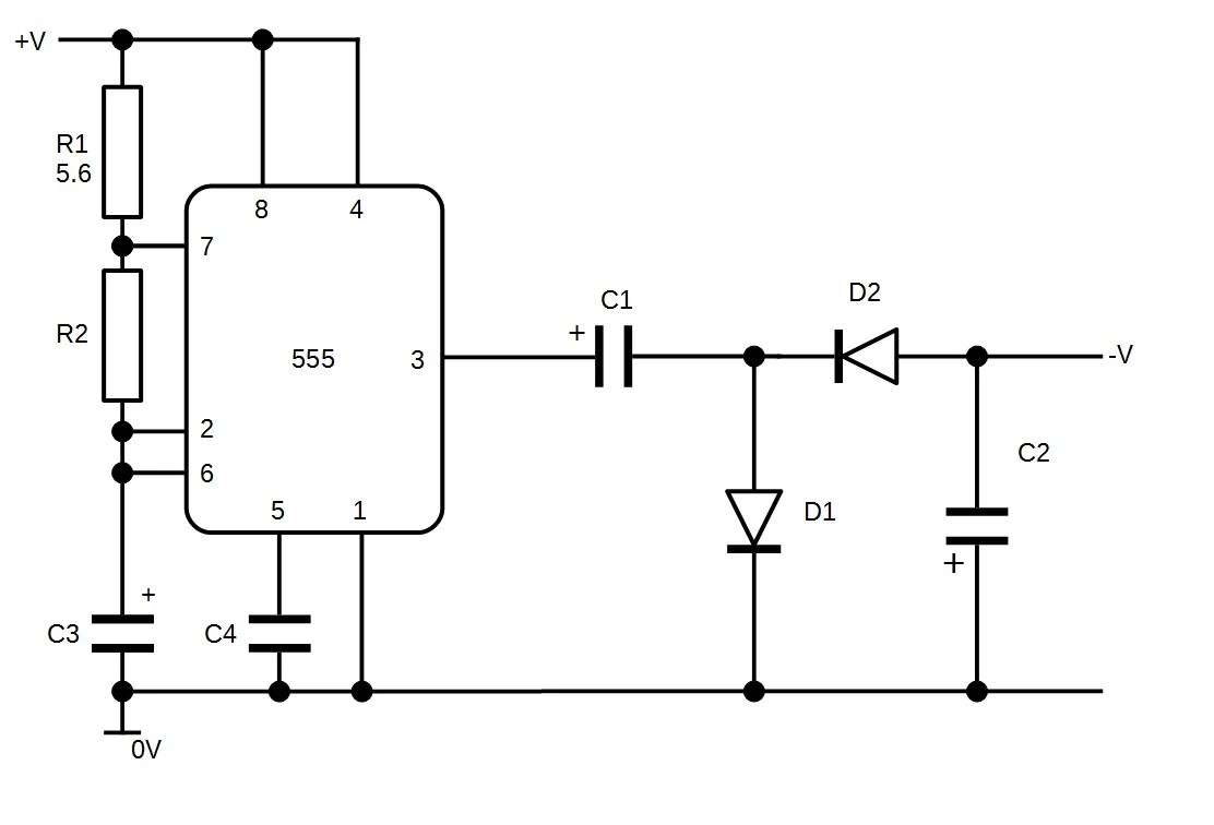 hight resolution of the complete circuits 555 driven negative voltage generator