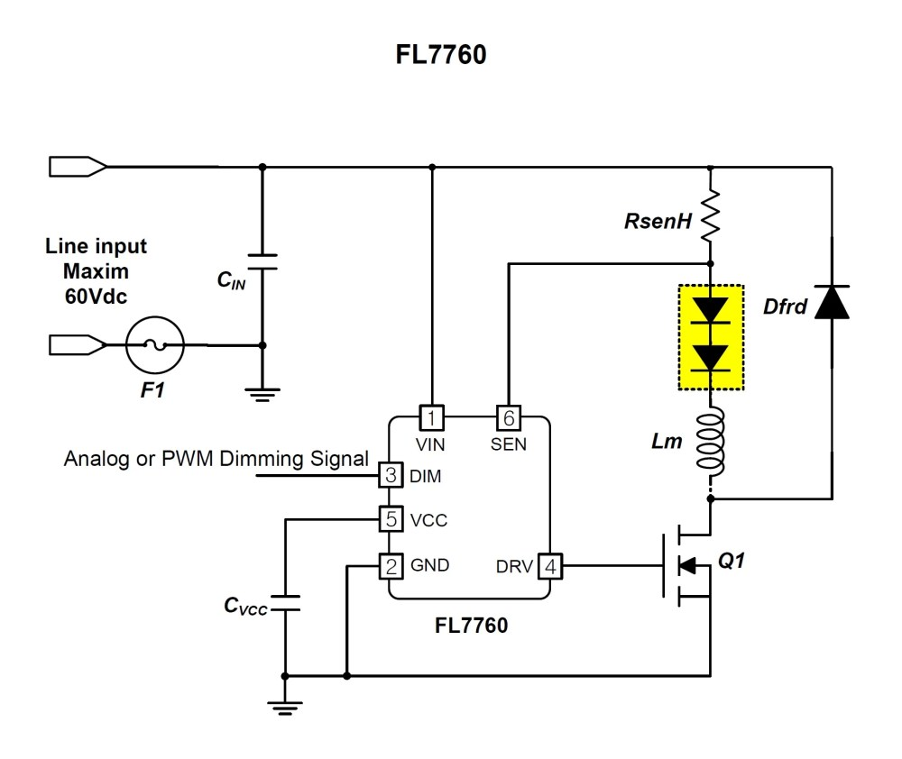 medium resolution of wide input voltage range in a small 6 pin package on semi s new led input voltage range high power led driver circuit schematic diagram