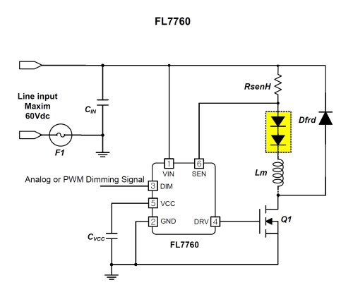 small resolution of wide input voltage range in a small 6 pin package on semi s new led input voltage range high power led driver circuit schematic diagram