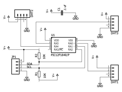 small resolution of schematic for the pic i2c board