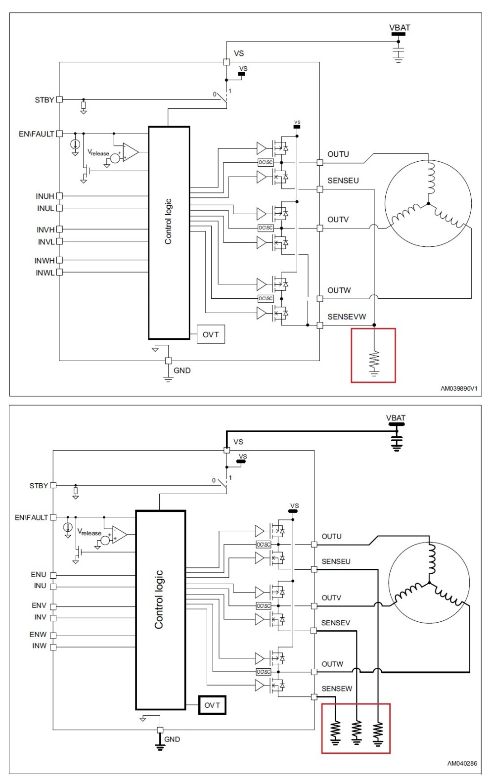 medium resolution of the figure below shows the block diagrams of these two devices along with their respective three shunt and single shunt current sensing methods in the red